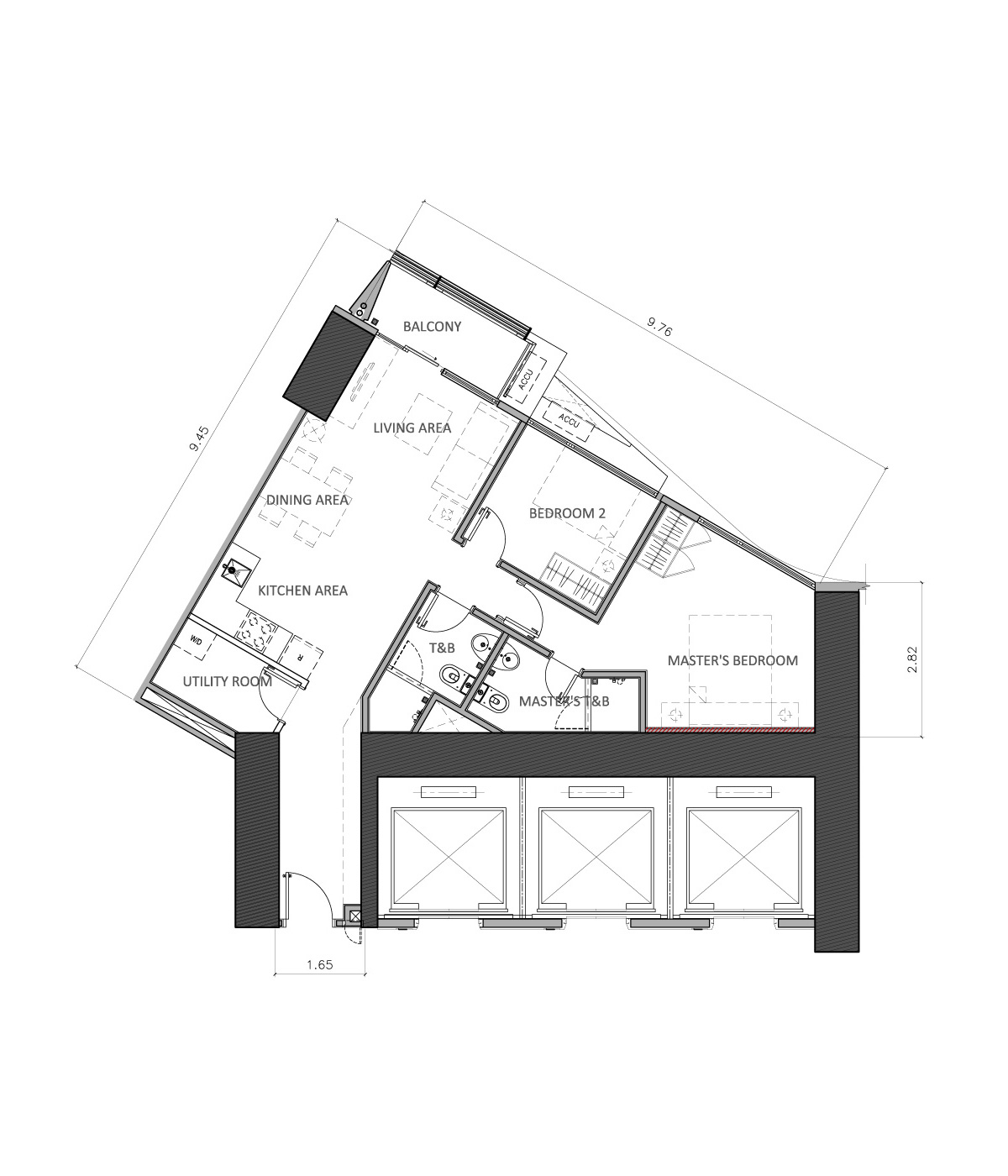 3 Bedroom Unit Floor Plans